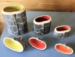 (V6) interior glaze on flower canisters