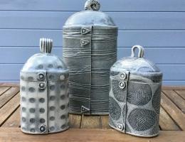 (V9)Trio of monochrome canisters