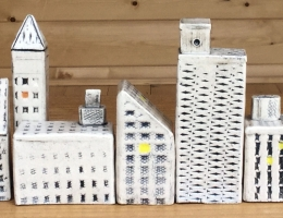 """Urban buildings, """" make your own skyline"""" sizes range between 4 to 8 cm high x 2 to 4 cm wide"""