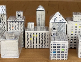 """Urban buildings """" make your own skyline"""" sizes vary between 4 to 8 cm high x 2 to 4 cm wide"""