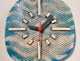 Deco blue ceramic clock approx  15cm across