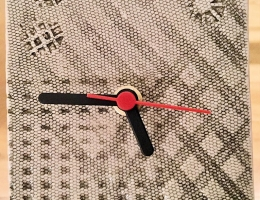 Textured square ceramic clock approx 10cm square
