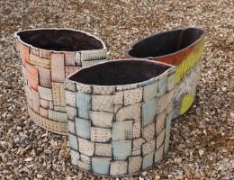 2 Large Elliptical planters+1 Large Vase/ Pot Holder