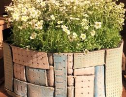 Stoneware triangular, curved planter 20cm high x 40cm wide ( at widest point)
