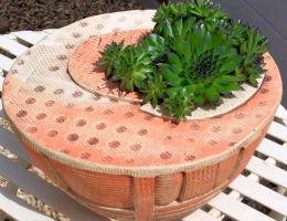 Stoneware bowl planter 27cm diameter