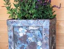 Large black stoneware planter  40cm tall x 35cm x 20cm