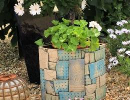 Large stoneware garden planter 41 cm tall x 45 cm wide