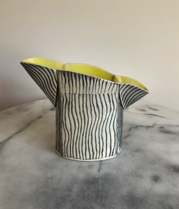 SMH24 - Double Spouted Vase - Yellow interior -22 cms tall